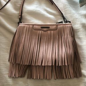 Rebecca Minkoff baby pink leather fringe purse!!!